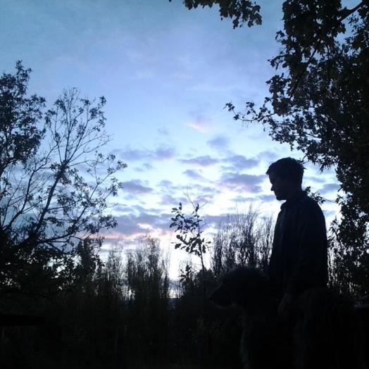 Keyes and his Irish Wolfhound